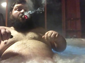 kink;fat;cigar;bear;belly;hottub,Solo Male;Gay smokey hottub clip