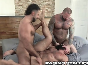 ragingstallion;tattoo;deepthroat;chubby;rimming;bear;rough-sex;hairy;group-sex;blowjob;threesome;ass-eating;kissing;flip-flop;hairy-muscle;daddy,Bareback;Muscle;Blowjob;Big Dick;Group;Gay;Bear;Chubby;Tattooed Men RagingStallion -...