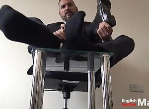 alpha-male;alpha;master;master-feet;foot-worship;daddy;dilf;suited-daddy;suit;barefoot;socks;chelsea-boots;barefeet;sock-sniffing;sock-worship;foot-fetish,Daddy;Muscle;Solo Male;Gay;Hunks;Feet 15 minutes of...