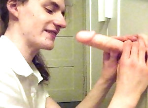 dildo;dildo-blowjob;uniform;crossdresser;oral;sucking;crossdress;femboy;adult-toys,Solo Male;Gay Schoolboy...